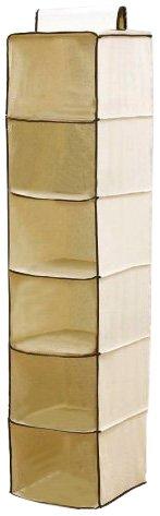 H & L Russel 6 Poches de Rangement à Accrocher Crème Caramel 30 x 30 x 122 cm