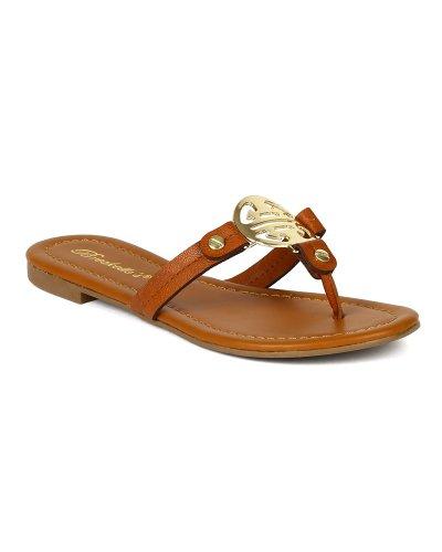 Breckelles Ba51 Women Leatherette Fashion Thong Slipper Sandal - Tan (Size: 7.0) front-417600