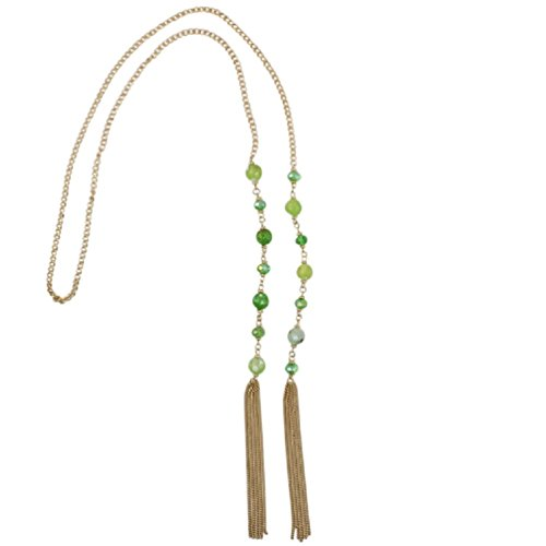 Bohemian Chic Gold Tone Green Crystal Long Tassel Strand Lariat Necklace