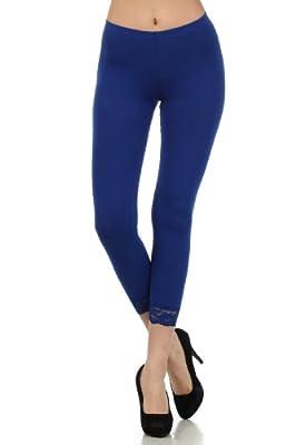Sakkas Cotton Lycra Blend Lace Trim Stretch Capri Leggings - Made in USA