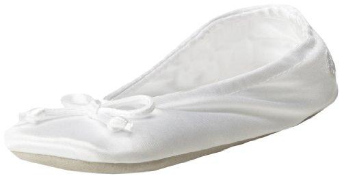 Isotoner Women's Classic Satin Ballerina Slipper, Med White