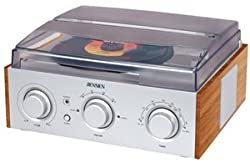 Jensen 3-Speed Stereo Turntable with AM/FM Stereo Radio with 2 Built-In Speakers External Stereo Speaker Output Terminals Stereo Headphone Jack Transparent Dust Cover
