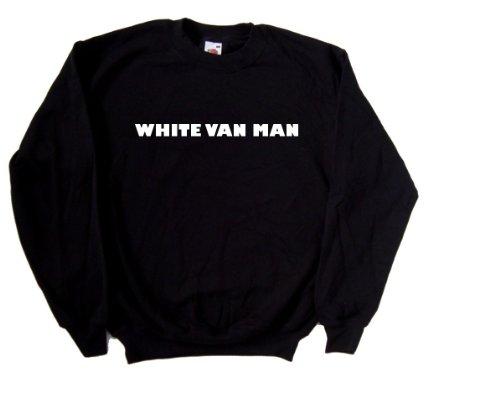 White Van Man Funny Black Sweatshirt (White print)-X-Large