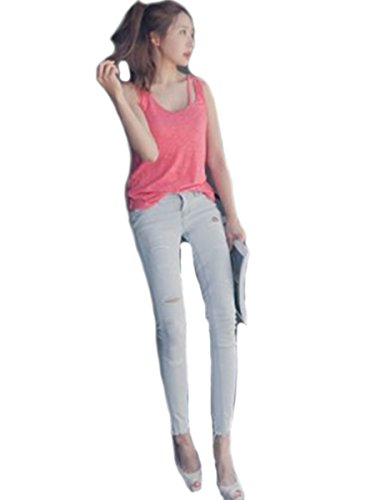 Happy Fll Womens Punk Ripped Skinny Ankle Length Pencil Denim Jeans