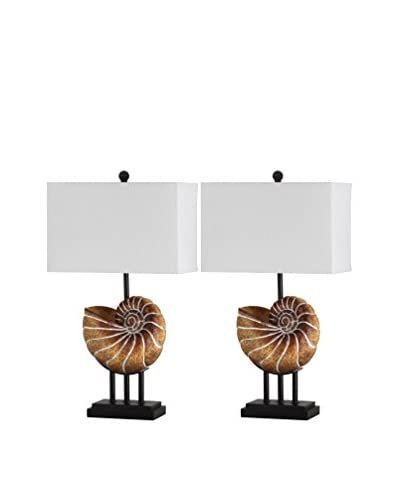 Safavieh Set of 2 Nautilus Shell Table Lamps, White/Brown