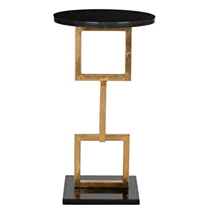 Safavieh Home Collection Cassidy Marble Top Accent Table, Gold and Black