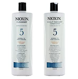 Nioxin System 5 Cleanser & Scalp Therapy For Normal to Thin Hair Duo Set(33.8 oz Each)