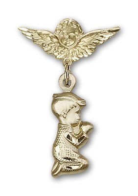 Gold Filled Baby Badge with Praying Boy Charm and Angel w/Wings Badge Pin