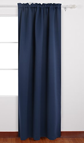 Deconovo Solid Color Curtains Rod Pocket Thermal Insulated Blackout Curtains for French Doors 42 W x 63 L Navy Blue 1 Panel (French Door Panel Curtains Blue compare prices)