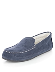 Faux Suede Moccasin Slippers