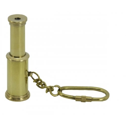"Functional Telescope Solid Brass Keychain, Extendable From 1.5"" To 3"", 2.5-Inch"