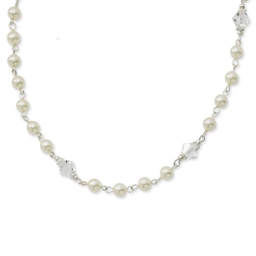 1928 Silver-tone Cultura Glass Pearl/Crystal Strand 15.5 Inch with Extension Necklace