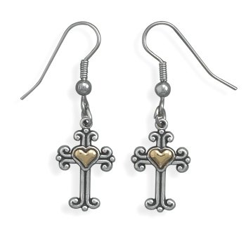 CleverSilver's Sterling Silver And 14 Karat Gold Ornate Cross Earrings