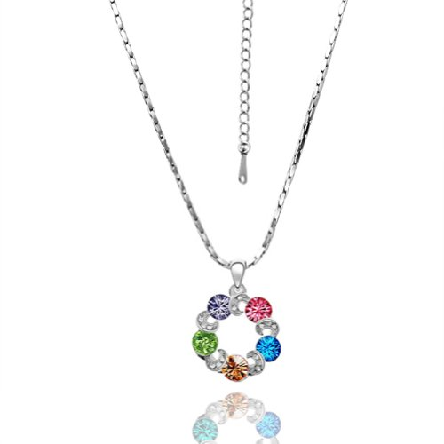 Virgin Shine Fashion Silver-Plate Necklace With Many Colorful Pendants