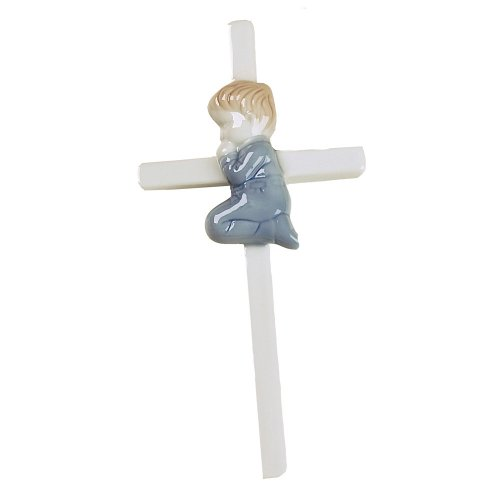 Praying Boy Porcelain Hanging Cross