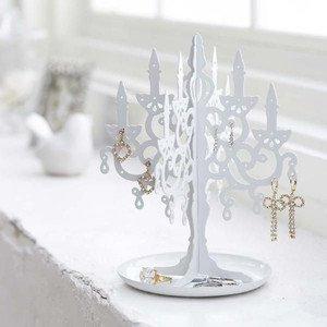 Chandelier Earring Holder / Jewelry Organizer Display, White