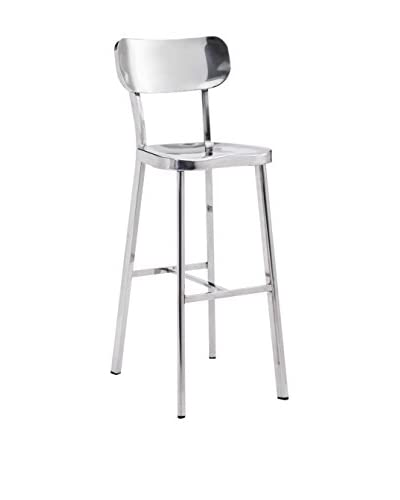 Zuo Winter Bar Chair, Polished Stainless Steel