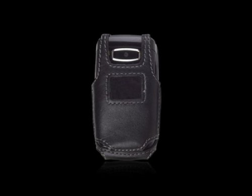 Black Rugged Fitted Leather Case Pouch w/ Belt Clip for AT&T LG CE110