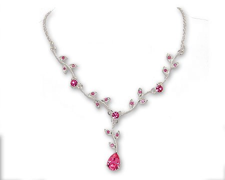Fuschia  Bright Pink Crystal Pear and Leaf Drop Necklace Bridesmaid Jewelry