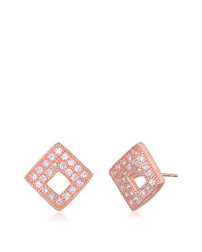 Megan Walford CZ Sterling Silver Rose-Tone Outlined Square Stud Earrings As You See