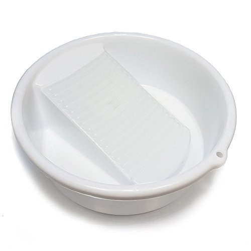 "Small White Washing Bowl / Basin with Integrated Washboard _ 10"" diameter"