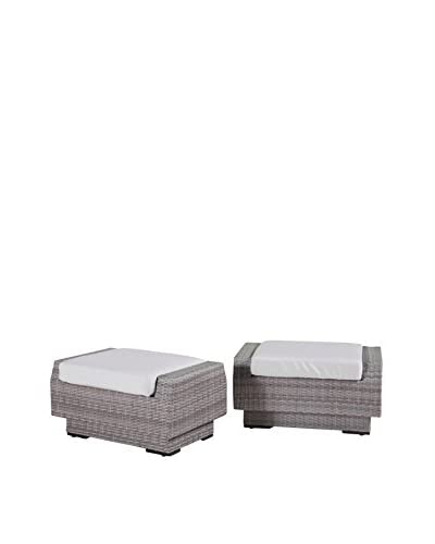 RST Brands Cannes Set of 2 Club Ottomans, Cream