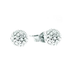 Sterling Silver 6mm Clear Crystal Pave Ball Stud Earrings