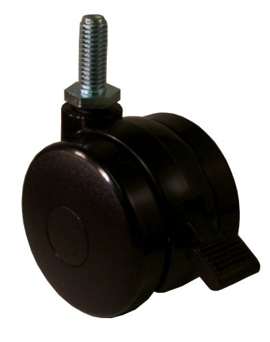"E.R. Wagner 3"" Diameter Polyolefin Wheel Light Duty Furniture Open Twin Swivel Stem Caster with Brake, 3/8""-16 Diameter X 1"" Length Threaded Stem, 125 lbs Capacity Range"