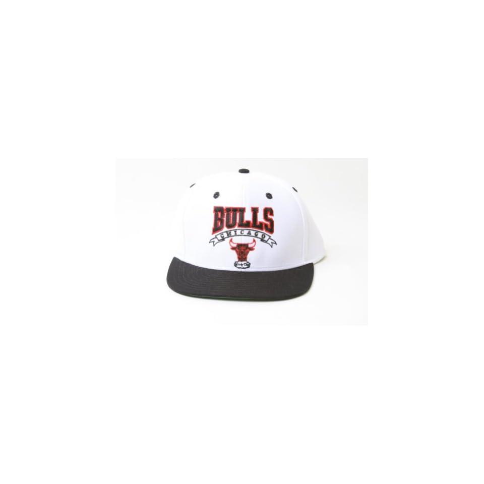 2ca96898b81175 New Adidas NBA Chicago Bulls Script Logo Snapback Hat White and Black