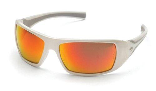 Pyramex Goliath Safety Eyewear, White Frame, Sky Red Mirror Lens