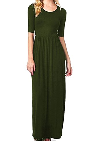 Meaneor Women's 3 4 Sleeve Solid Plus Maxi Long Dress