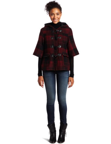 CoffeeShop Women's Hooded Plaid Coat with Toggles