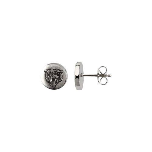 24665 St Steel Pair 10mm Chicago Bears Logo Stud Earrings Football NFL Men Team