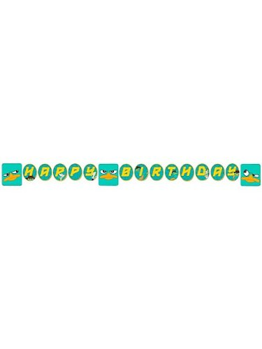 Phineas and Ferb Agent P Plastic Happy Birthday Banner - 1
