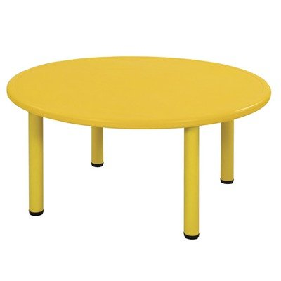 Ecr4Kids Round Plastic Table Color: Yellow, Leg Height: 22