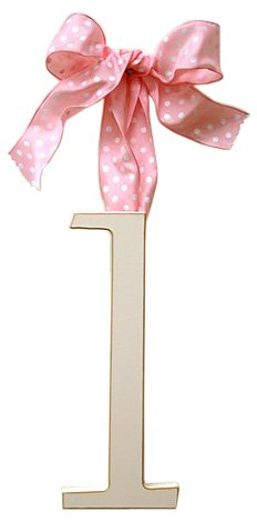New Arrivals Wooden Letter L with Pink Polka Dot Ribbon, Cream