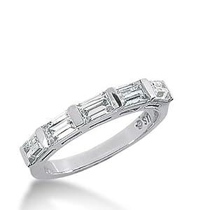 18k Gold Diamond Anniversary Wedding Ring 5 Straight Baguette Diamonds 1.30 ctw. 328WR144318K - Size 6.25