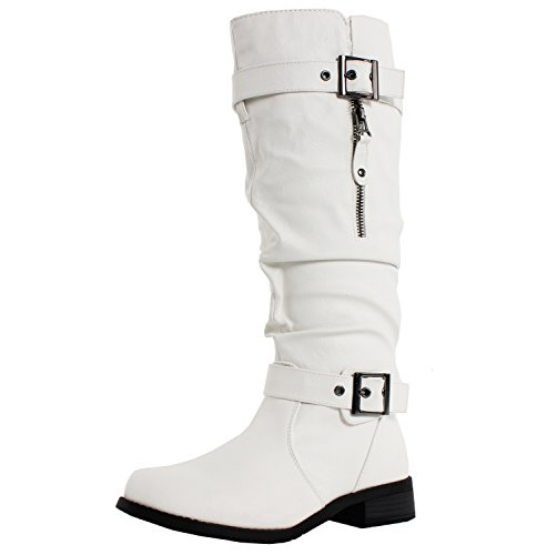West Blvd Madras Riding Slouch Boots, White Pu, 7