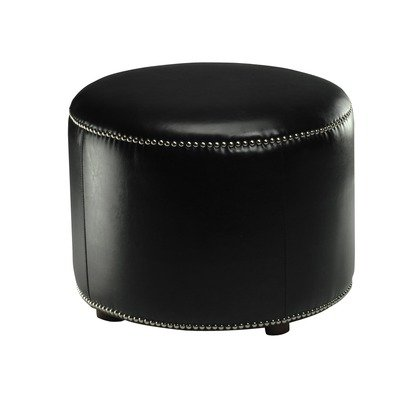Safavieh Hudson Collection Zachary Leather Round Nailhead Ottoman, Black
