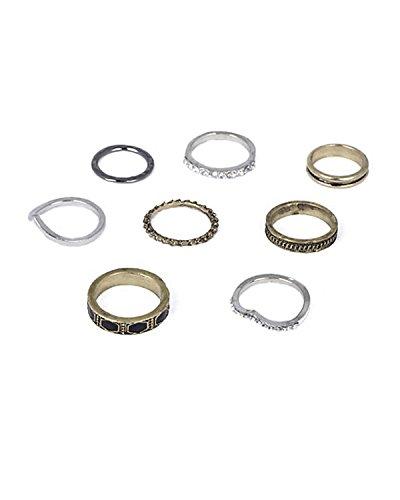 Young-Forever-raksha-bandhan-special-rakshabandhan-for-sister-gifts-Antique-Silver-And-Gold-Vintage-Midi-Rings-Set-Set-Of-8-For-Women-by-CrazeeMania-R30025