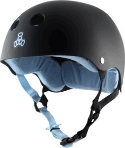 Triple 8 Brainsaver Skate Helmet Rubber Black Carolina Blue (Medium) by Triple Eight