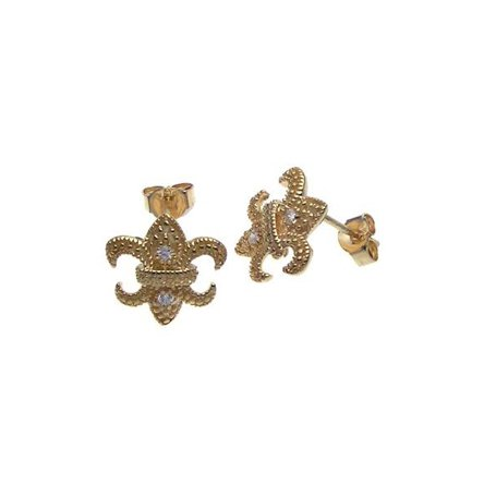 Amazing Gold Plated Sterling Silver Fleur De Lis Cubic Zirconia Stud Earrings, Comes in a Gift Box & Special Pouch.