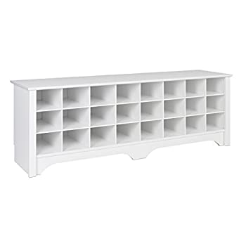 Prepac WSS-6020 24 Pair Shoe Storage Cubby Bench, White