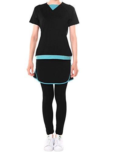 (プラネットシー) Planet-C レディース ランニングウェア 3点セット フィットネスTシャツ&ランニングスカート&スポーツレギンス10分丈 M ブラック×ブルー