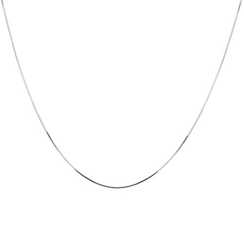 10k White Gold Solid Diamond-Cut Snake Chain Necklace, 16