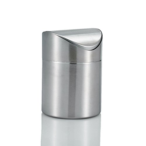 Amteker Brushed Stainless Steel Mini Garbage Can Table Desk Trash Rubbish Bin Storage Bucket Countertop Trash Can & Swing Lid Household (Swing Garbage Can compare prices)