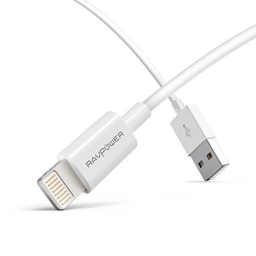 [Apple MFi Certifié] RAVPower Câble Lightning vers USB pour iPhone 6S/ 6S Plus/ 6/ 6 Plus/ 5S/ 5C/ 5; iPad Air/ Mini; iPod Touch 5/ Nano 7, Charge et Synchronisation des Données (90cm)