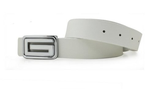 CA Men's G Shape Leather Belt Color White Size Medium