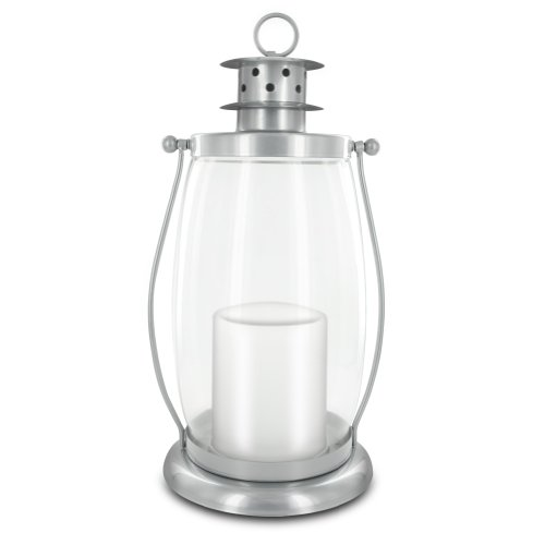 HomeReflections Indoor/Outdoor Flameless Candle Hurricane Lantern w/Timer & Chain (Silver) – H191794