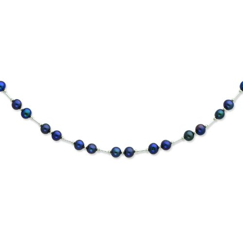 Silver 6-6.5mm Black Freshwater Cultured Pearl Necklace. 18in long Necklace.
